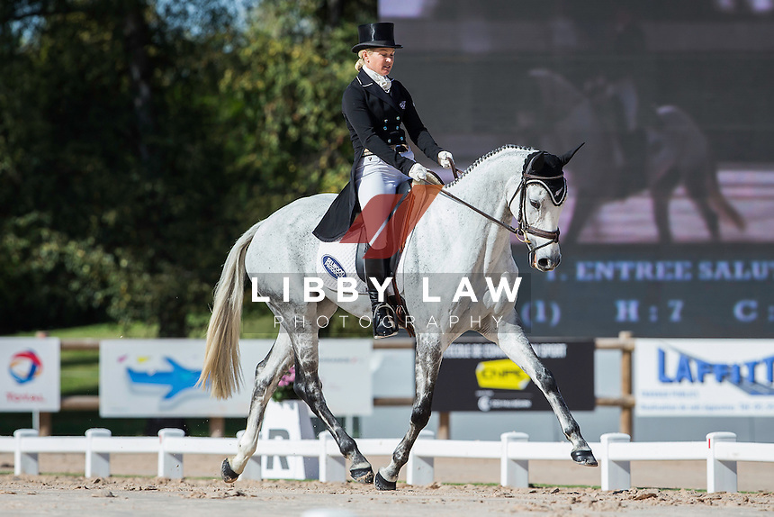 NZL-Jonelle Price (FAERIE DIANIMO) INTERIM-=11TH: CCI4* DAY TWO OF DRESSAGE: 2014 FRA-Les Etoiles de Pau (Friday 24 October) CREDIT: Libby Law COPYRIGHT: LIBBY LAW PHOTOGRAPHY - NZL