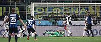 Calcio, Serie A: Inter - Juventus, Milano, stadio Giuseppe Meazza (San Siro), 28 aprile 2018.<br /> Juventus' Andrea Barzagli (c) scores an own goal for Inter Milan's second as Inter's captain Mauro Icardi (r) celebrates  during the Italian Serie A football match between Inter Milan and Juventus at Giuseppe Meazza (San Siro) stadium, April 28, 2018.<br /> UPDATE IMAGES PRESS/Isabella Bonotto