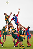 Taiasina Tuifua & Edward Roa compete for lineout ball. Counties Manukau Premier Club Rugby game between Ardmore Marist and Pukekohe played at Bruce Pulman Park on Saturday April 17th..Pukekohe won the game 25 - 0 after leading 15 - 0 at halftime.