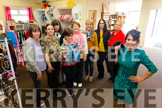 Launch of Fashion Show in aid of Adapt Kerry Women's Refuge on Friday 20th October at 7pm in the Adapt Charity Shop Matt Talbot Road Tralee. Pictured front Model Vaniela Marquec with staff and volunteers l-r Angela Mitchell, Sharon Brosnan, Bride Moriarty,, Brenda Diggins, Mary O'Sullivan, Bridget O'Sullivan, Louise Herbert, Helena Slattery, Manager Adapt Charity Shop