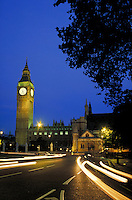 Big Ben, Parliament and street at night. London, England. London, England.