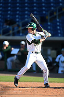 USF Bulls outfielder Luke Maglich (18) at bat during a game against the Alabama State Hornets on February 15, 2015 at Bright House Field in Clearwater, Florida.  USF defeated Alabama State 12-4.  (Mike Janes/Four Seam Images)