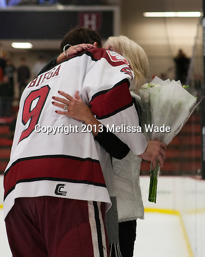 Danny Biega (Harvard - 9), Peggy Biega - The Class of 2013 was celebrated following the final Harvard Crimson home game of the season on Saturday, March 2, 2013, at Bright Hockey Center in Cambridge, Massachusetts.