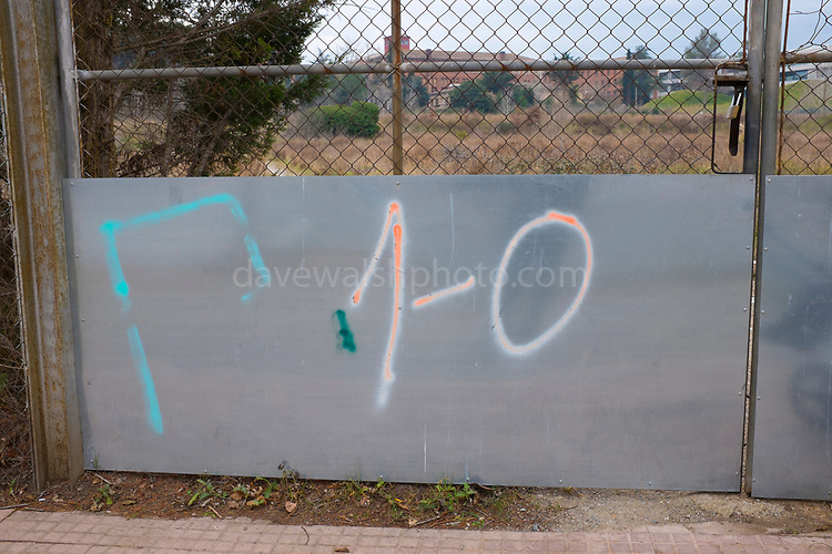 """1-O"" graffiti- referring to the October 1st 2017 Catalan independence referendum, which went ahead, despite violent crackdowns by Spanish police against voters. Photographed Sant Cugat del Valles, Barcelona, Catalonia."