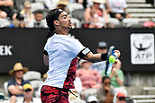 11th January 2018, Sydney Olympic Park Tennis Centre, Sydney, Australia; Sydney International Tennis,quarter final; Fabio Fognini (ITA) hits a forehand in his match against Adrian Mannarino (ITA)