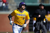 Alec Burleson (19) of the East Carolina Pirates jogs down the first base line as he watches his solo home run sail over the right field wall in the top of the first inning against the Charlotte 49ers at Hayes Stadium on March 8, 2020 in Charlotte, North Carolina. The Pirates defeated the 49ers 4-1. (Brian Westerholt/Four Seam Images)