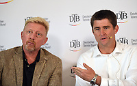 Davis Cup captain Michael Kohlmann (R) and Boris Becker, Head of Men·s Tennis of the German Tennis Federation partake in in a panel discussion in Ismaning, Germany, 17 October 2017. Becker is counting on a German team with the best players for the first Davis Cup round 2018. Photo: Peter Kneffel/dpa /MediaPunch ***FOR USA ONLY***