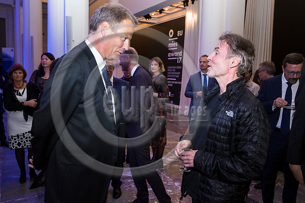 BRUSSELS - BELGIUM - 27 September 2017 -- Finland 100th Anniversary Reception and Concert of the Philharmonia Orchestra of London at the BOZAR. -- MEP Hannu TAKKULA and Esa-Pekka Salonen, Conductor of the Philharmonia Orchestra of London. -- PHOTO: Juha ROININEN / EUP-IMAGES