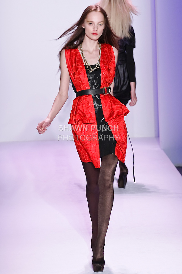 Jules Mordovets walks the runway in an outfit by Thuy Diep, for her Thuy Fall Winter 2010 collection fashion show, during Mercedes-Benz Fashion Week Fall 2010.