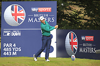 Justin Rose (ENG) on the 3rd tee during Round 2 of the Sky Sports British Masters at Walton Heath Golf Club in Tadworth, Surrey, England on Friday 12th Oct 2018.<br /> Picture:  Thos Caffrey | Golffile<br /> <br /> All photo usage must carry mandatory copyright credit (&copy; Golffile | Thos Caffrey)