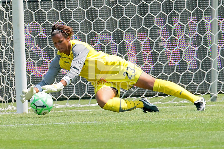 Karina LeBlanc #1 of the Los Angeles Sol makes a save against the Chicago Red Stars during their WPS game at The Home Depot Center on June 27,2009 in Carson, California.  The Sol defeated the Red Stars 4-0.