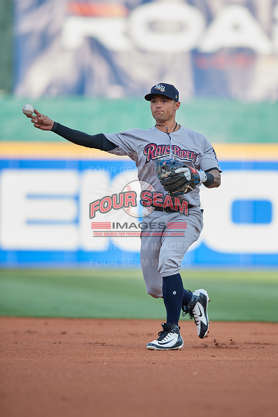 Scranton/Wilkes-Barre RailRiders second baseman L.J. Mazzilli (3) throws to first base during a game against the Buffalo Bisons on May 18, 2018 at Coca-Cola Field in Buffalo, New York.  Buffalo defeated Scranton 5-1.  (Mike Janes/Four Seam Images)