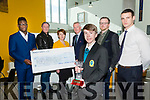 """Mercy Mounthawk Student Tiernan Brosnan winner of the Tralee Chamber Alliance -  """"Our Big Idea"""" event for TY Students at the IT Tralee North Campus on Monday with his Idea Tralee Tracks and Trails, Back l-r event organiser Qudus Oyebanji, Mercy Mounthawk Transition Year Co-Ordinator Shane Kissane, Judges Breda O'Dwyer, Kieran Ruttledge, Ken Tobin and Shane Enright"""