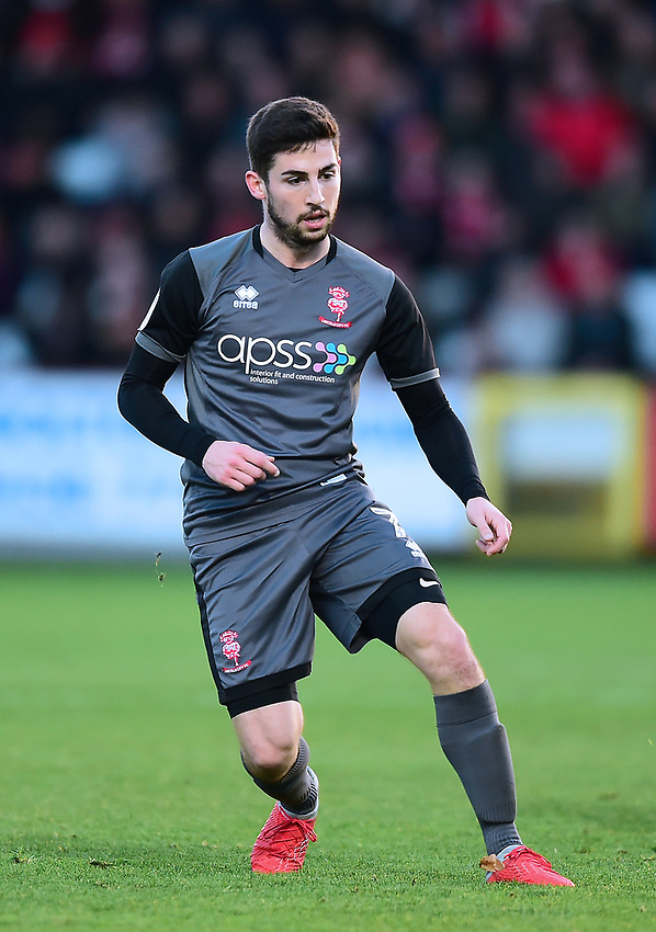 Lincoln City's Tom Pett<br /> <br /> Photographer Andrew Vaughan/CameraSport<br /> <br /> The EFL Sky Bet League Two - Stevenage v Lincoln City - Saturday 8th December 2018 - The Lamex Stadium - Stevenage<br /> <br /> World Copyright © 2018 CameraSport. All rights reserved. 43 Linden Ave. Countesthorpe. Leicester. England. LE8 5PG - Tel: +44 (0) 116 277 4147 - admin@camerasport.com - www.camerasport.com