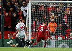 Roberto Firmino of Liverpool scores the equalising goal during the Champions League Group E match at the Anfield Stadium, Liverpool. Picture date 13th September 2017. Picture credit should read: Simon Bellis/Sportimage