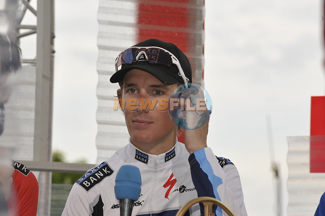 Andy Schleck (LUX) Saxo Bank wins the 95th running of Liege-Bastogne-Liege cycle race, running 261km from Liege to Ans, Belgium. 26th April 2009 (Photo by Eoin Clarke/NEWSFILE)