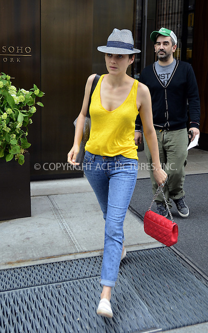 WWW.ACEPIXS.COM . . . . .  ......May 30 2012, New York City......Actress Marion Cotillard outside a downtown hotel on May 30 2012 in New York City....Please byline: CURTIS MEANS - ACE PICTURES.... *** ***..Ace Pictures, Inc:  ..Philip Vaughan (212) 243-8787 or (646) 769 0430..e-mail: info@acepixs.com..web: http://www.acepixs.com