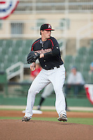 Kannapolis Intimidators starting pitcher Thad Lowry (24) in action against the West Virginia Power at Intimidators Stadium on July 2, 2015 in Kannapolis, North Carolina.  The Power defeated the Intimidators 5-1.  (Brian Westerholt/Four Seam Images)