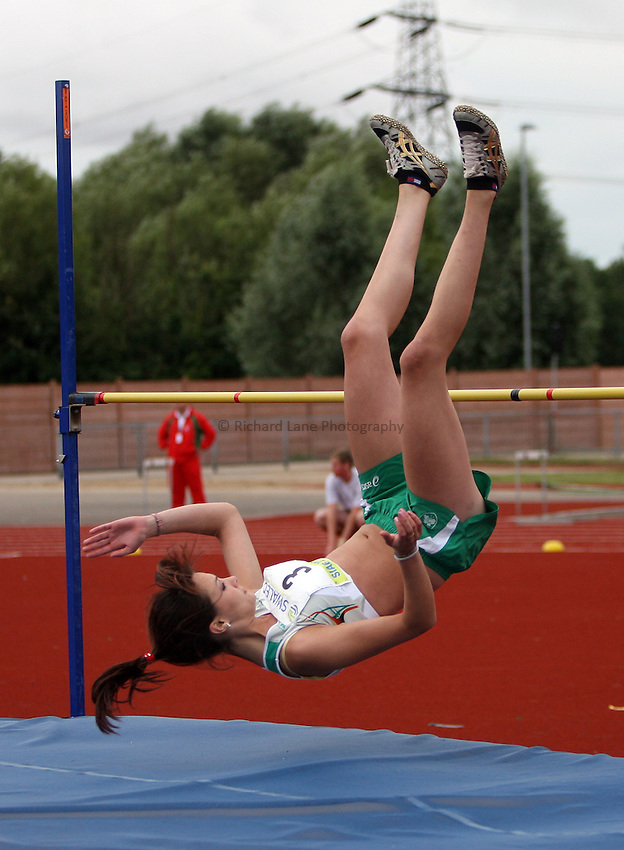 Photo: Rich Eaton...Schools International Athletic Board, Track & Field International Match, Newport. 21/07/2007. Cathriona Farrell of Ireland competes in the girls high jump.