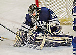 4 January 2014:  Yale University Bulldog goaltender Alex Lyon, a Freshman from Baudette, MN, make a third period save against the University of Vermont Catamounts at Gutterson Fieldhouse in Burlington, Vermont. With an empty net and seconds remaining, the Cats came back to tie the game 3-3 against the 10th seeded Bulldogs. Mandatory Credit: Ed Wolfstein Photo *** RAW (NEF) Image File Available ***