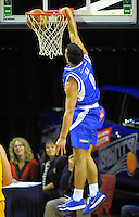 Shea Ili dunks during the national basketball league match between Wellington Saints and Mountain Airs at TSB Bank Arena, Wellington, New Zealand on Friday, 6 May 2016. Photo: Dave Lintott / lintottphoto.co.nz