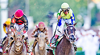 LOUISVILLE, KY - MAY 06: Always Dreaming #5, ridden by John Velazquez, wins the Kentucky Derby on Kentucky Derby Day at Churchill Downs on May 6, 2017 in Louisville, Kentucky. (Photo by Doug DeFelice/Eclipse Sportswire/Getty Images)