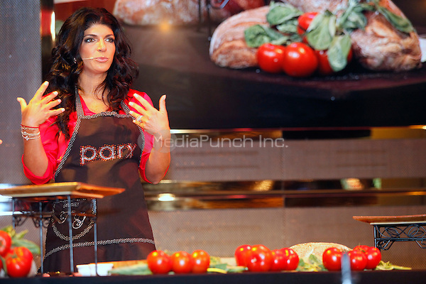 Teresa Giudice pictured giving a cooking demonstration at Parx Casino in Bensalem, Pa on May 11, 2012 © Star Shooter / MediaPunchInc