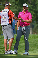 Jon Rahm (ESP) after sinking his par putt on 2 during 2nd round of the World Golf Championships - Bridgestone Invitational, at the Firestone Country Club, Akron, Ohio. 8/3/2018.<br /> Picture: Golffile | Ken Murray<br /> <br /> <br /> All photo usage must carry mandatory copyright credit (&copy; Golffile | Ken Murray)