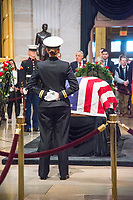 Washington, DC December 4 ,2018: The casket of former President George H.W. Bush lies in the rotunda of the US Capitol in Washington DC. The 41st President died on November 30,2018 and will be buried next to his wife and daughter in Texas.<br /> CAP/MPI/PYL<br /> &copy;PYL/MPI/Capital Pictures