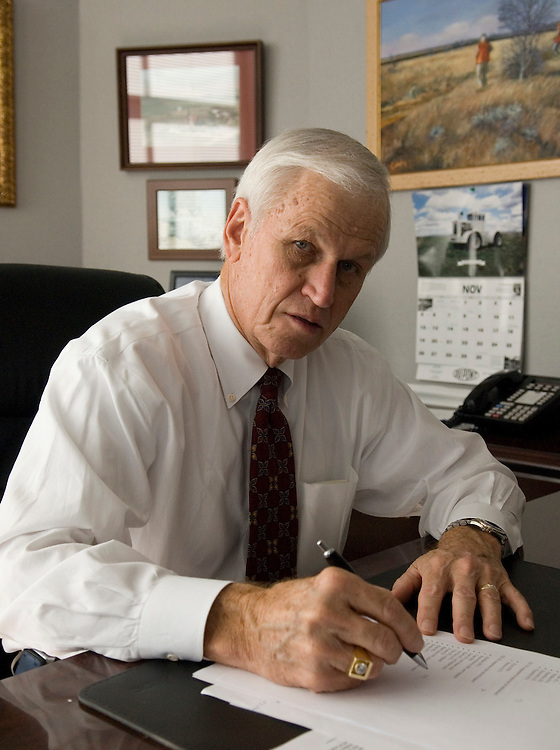 Former Congressman Charlie Stenholm, D-Texas, works in his office at the Olsson, Frank and Weeda law firm in Washington on Friday, Nov. 17, 2006.