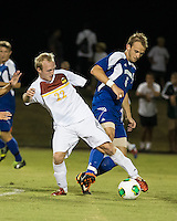 Winthrop University Eagles vs the Brevard College Tornados at Eagle's Field in Rock Hill, SC.  The Eagles beat the Tornados 6-0.  Max Davidson (22) and Ryan Vandenberg (6) fight for the ball in the second half.