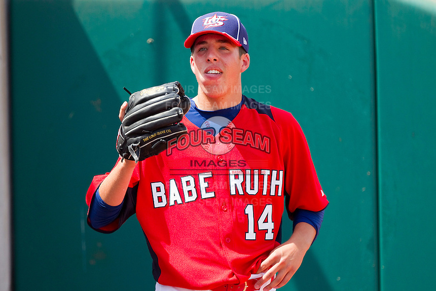 Jake Drossner #14 of Babe Ruth warms up in the bullpen during the game against PONY at the 2011 Tournament of Stars at the USA Baseball National Training Center on June 25, 2011 in Cary, North Carolina.  Babe Ruth defeated PONY by the score of 10-9. (Brian Westerholt/Four Seam Images)