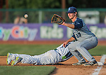 30 July 2016: Brooklyn Cyclones infielder Peter Alonso in action against the Vermont Lake Monsters at Centennial Field in Burlington, Vermont. The Lake Monsters defeated the Cyclones 7-1 in NY Penn League play. Mandatory Credit: Ed Wolfstein Photo *** RAW (NEF) Image File Available ***