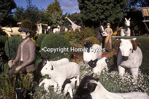 Cement garden menagerie.  Branxton, Northumberland. Made by John Fairnington for his disabled son  Edwin Fairnington's amusement.