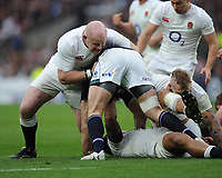 Dan Cole of England slows down a Scotland attack during the RBS 6 Nations match between England and Scotland at Twickenham Stadium on Saturday 11th March 2017 (Photo by Rob Munro/Stewart Communications)