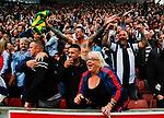 Stoke City 1 West Bromwich Albion 1, 24/09/2016. Bet365 Stadium, Premier League. West Brom fans celebrate the injury time equalising goal scored by José Salomón Rondón. Photo by Paul Thompson.