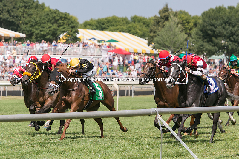 August 15, 2015. #3 Mizz Money and jockey Robby Albarado edge out #5 Return to Grace and jockey Joe Bravo to win the G3 Pucker Up Stakes. Katherin Frankovic/ESW/CSM