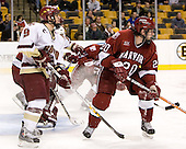 Nathan Gerbe (Boston College - Oxford, MI), Kyle Richter (Harvard University - Calgary, AB), Brian McCafferty (Harvard University - Lexington, MA) - The Boston College Eagles defeated the Harvard University Crimson 3-1 in the first round of the 2007 Beanpot Tournament on Monday, February 5, 2007, at the TD Banknorth Garden in Boston, Massachusetts.  The first Beanpot Tournament was played in December 1952 with the scheduling moved to the first two Mondays of February in its sixth year.  The tournament is played between Boston College, Boston University, Harvard University and Northeastern University with the first round matchups alternating each year.