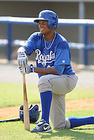 Outfielder Jorge Bonifacio (29) of the Burlington Royals, Appalachian League affiliate of the Kansas City Royals, prior to a game against the Kingsport Mets on August 20, 2011, at Hunter Wright Stadium in Kingsport, Tennessee. Kingsport defeated Burlington, 17-14. (Tom Priddy/Four Seam Images)