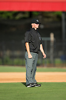 Umpire Lance Seilhamer handles the calls on the bases during the Appalachian League game between the Princeton Rays and the Danville Braves at American Legion Post 325 Field on June 25, 2017 in Danville, Virginia.  The Braves walked-off the Rays 7-6 in 11 innings.  (Brian Westerholt/Four Seam Images)