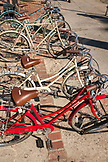 USA, Los Angeles, bikes locked up on the street of Abbot Kinney Boulevard