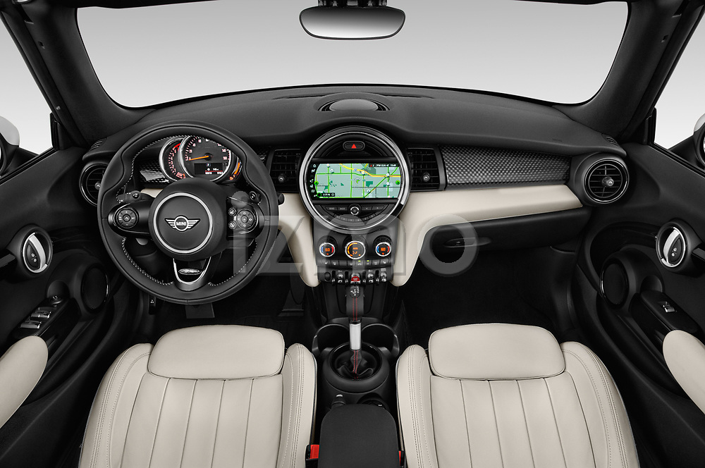 Stock photo of straight dashboard view of a 2019 Mini Cooper S Signature 2 Door Convertible