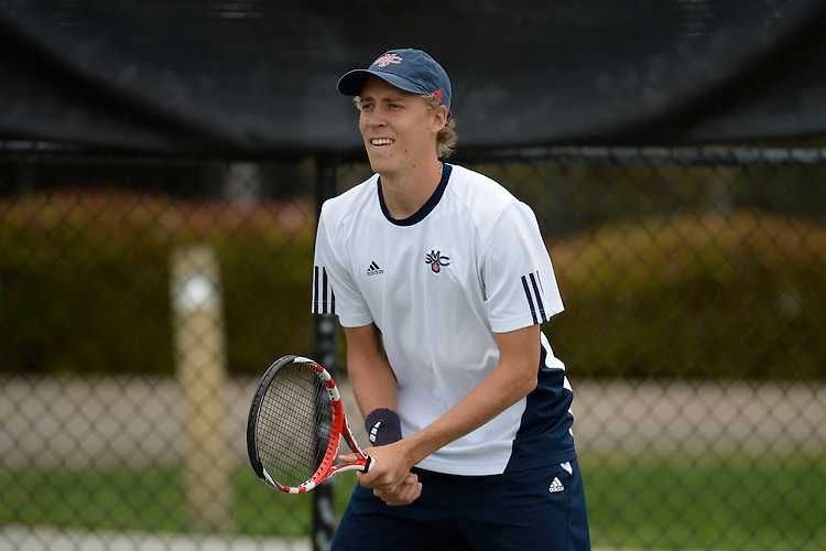 April 24, 2013; San Diego, CA, USA; Saint Mary's Gaels player Jesse Kiuru during the WCC Tennis Championships at Barnes Tennis Center.