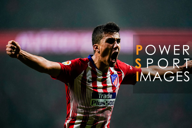 Rodrigo Cascante of Atletico de Madrid celebrates scoring the team's seond goal during the La Liga 2018-19 match between Atletico de Madrid and Athletic de Bilbao at Wanda Metropolitano, on November 10 2018 in Madrid, Spain. Photo by Diego Gouto / Power Sport Images