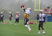 Wednesday, July 27, 2016: New England Patriots wide receiver Julian Edelman (11) catches the ball at a joint training camp practice between New England Patriots and  the New Orleans Saints  training camp held Gillette Stadium in Foxborough Massachusetts. Eric Canha/CSM