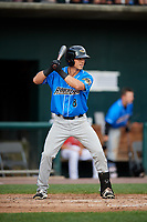 Akron RubberDucks third baseman Sam Haggerty (8) at bat during a game against the Harrisburg Senators on August 18, 2018 at FNB Field in Harrisburg, Pennsylvania.  Akron defeated Harrisburg 5-1.  (Mike Janes/Four Seam Images)