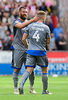 Lincoln City's Michael Bostwick, left, with team-mate Michael O'Connor as he leaves the field after being substituted<br /> <br /> Photographer Chris Vaughan/CameraSport<br /> <br /> The EFL Sky Bet Championship - Rotherham United v Lincoln City - Saturday 10th August 2019 - New York Stadium - Rotherham<br /> <br /> World Copyright © 2019 CameraSport. All rights reserved. 43 Linden Ave. Countesthorpe. Leicester. England. LE8 5PG - Tel: +44 (0) 116 277 4147 - admin@camerasport.com - www.camerasport.com
