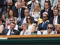 LONDON, ENGLAND - JULY 05: James Middleton and Pippa Middleton attend day four of the Wimbledon Tennis Championships at the All England Lawn Tennis and Croquet Club on July 5, 2018 in London, England.<br /> CAP/MPI122<br /> &copy;MPI122/Capital Pictures