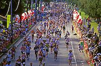 Runners at the finish of the Honolulu Marathon