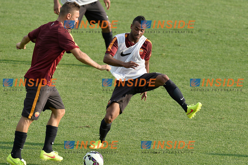 Ashley Cole e Francesco Totti AS Roma.<br /> Allenamento AS Roma. AS Roma Football training.<br /> Roma 16-07-2014 Trigoria. Football Calcio 2014/2015 Serie A. AS Roma. Foto Antonietta Baldassarre / Insidefoto